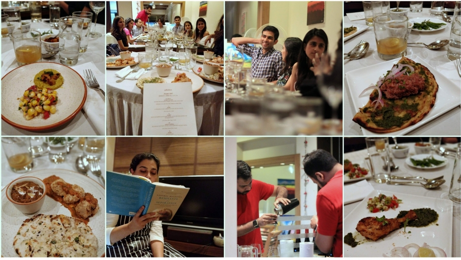 a collage of photos from Kashyap's dinner