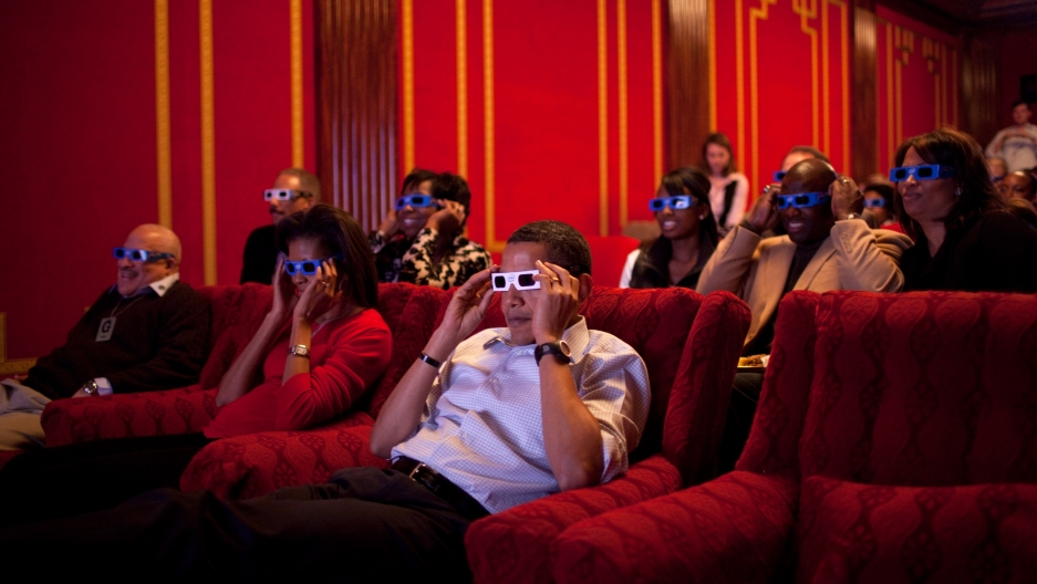 President Barack Obama and First Lady Michelle Obama in the family theater of the White House on February 1, 2009.