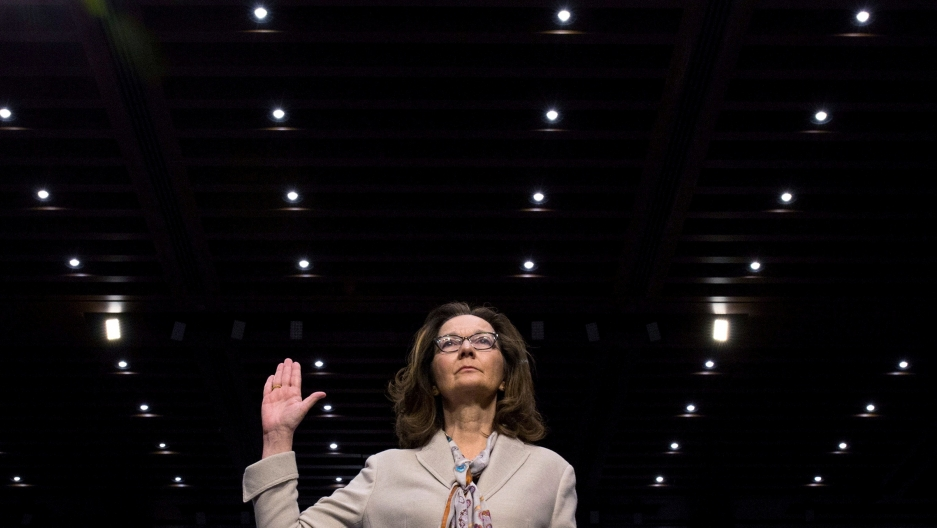 CIA director nominee and acting CIA Director Gina Haspel is sworn in to testify at her Senate Intelligence Committee confirmation hearing on Capitol Hill,