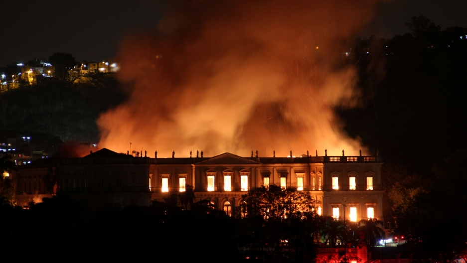 A fire burns at the National Museum of Brazil.