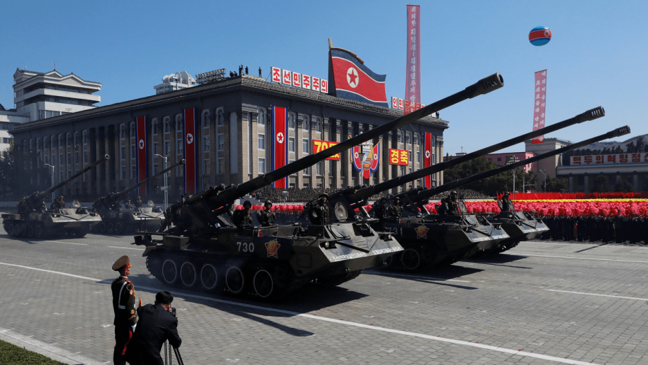 tanks at a military parade in north korea