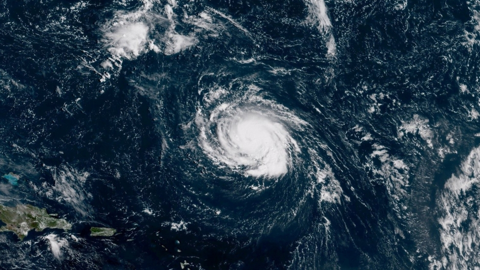 Hurricane Florence seen over the Atlantic Ocean