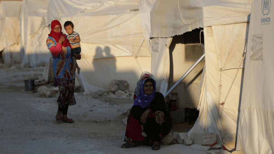 displaced syrians at refugee camp