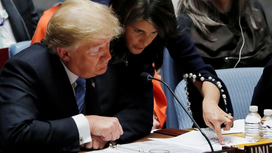 US Ambassador to the United Nations Nikki Haley leans over a seated President Donald Trump points at her handwritten notes.
