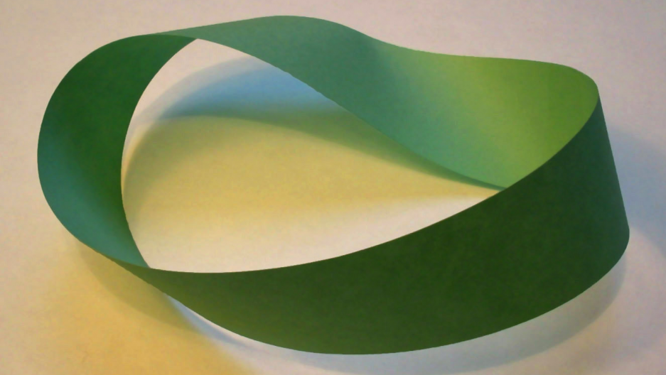 A Mobius strip made with a piece of paper and tape.