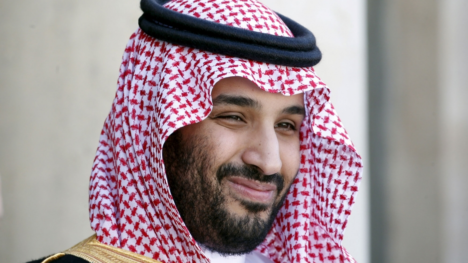 Saudi Arabia's Crown Prince Mohammed bin Salman is shown in a close-up photo with his traditional head wrap.
