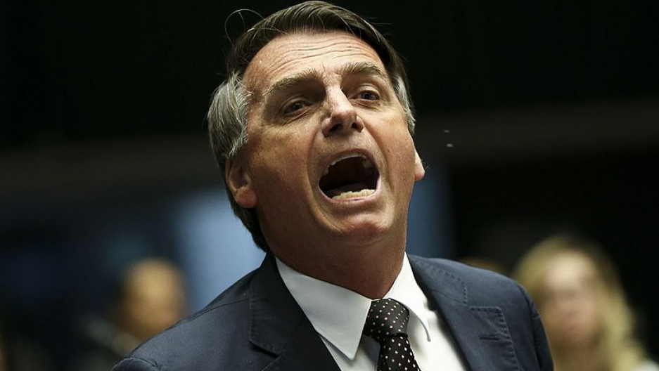 Jair Bolsonaro pictured with his mouth.