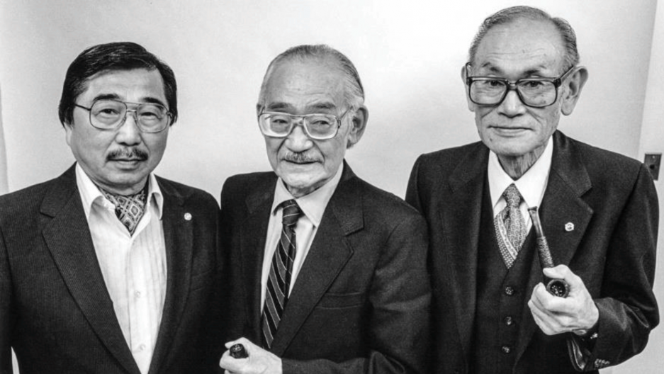 A 1983 black-and-white portrait of Gordon Hirabayashi, left, Minoru Yasui, center, and Fred Korematsu.