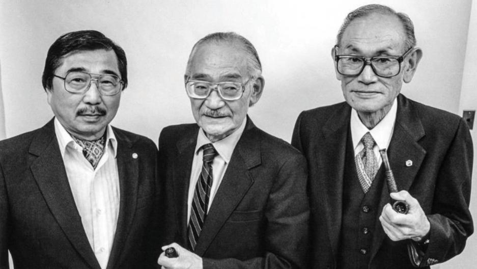 A 1983 black-and-white portrait of Gordon Hirabayashi, left, Minoru Yasui, center, and Fred Korematsu.
