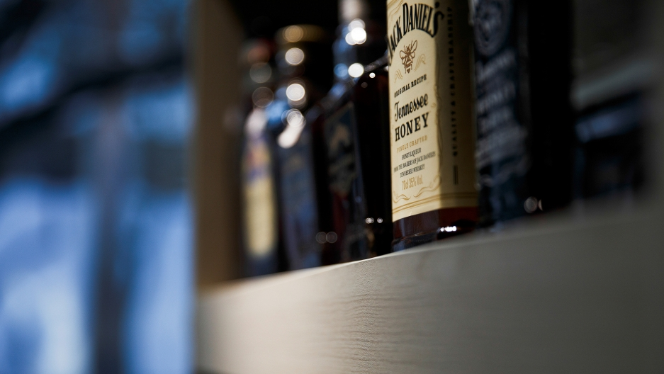 A bottle of Jack Daniel's Tennessee whiskey in a store in Beijing. China imposed 25 percent tariffs on US whiskeys back in July in response to President Trump's tariffs.