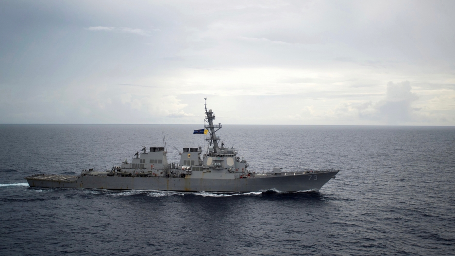 This is a 2016 photo of the guided-missile destroyer USS Decatur operating in the South China Sea. The ship was involved in a near collision early this week with a Chinese warship, according to the US military.