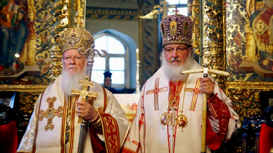 In this photo from 2009, the Ecumenical Patriarch, Bartholomew I (left) and Russian Orthodox Patriarch Kirill stand side-by-side during a Sunday service in the Patriarchal Cathedral of St. George at the Ecumenical Orthodox Patriarchate in Istanbul, Turkey
