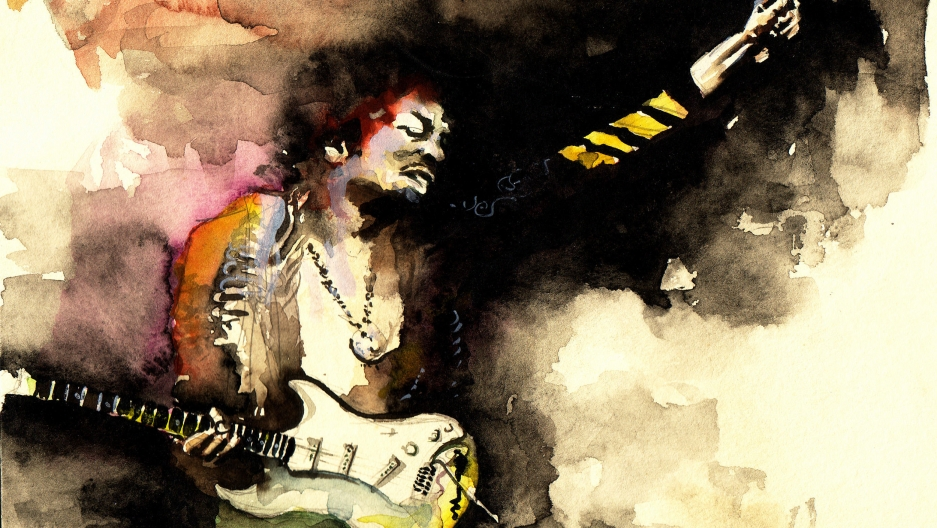 A watercolor of Jimi Hendrix.