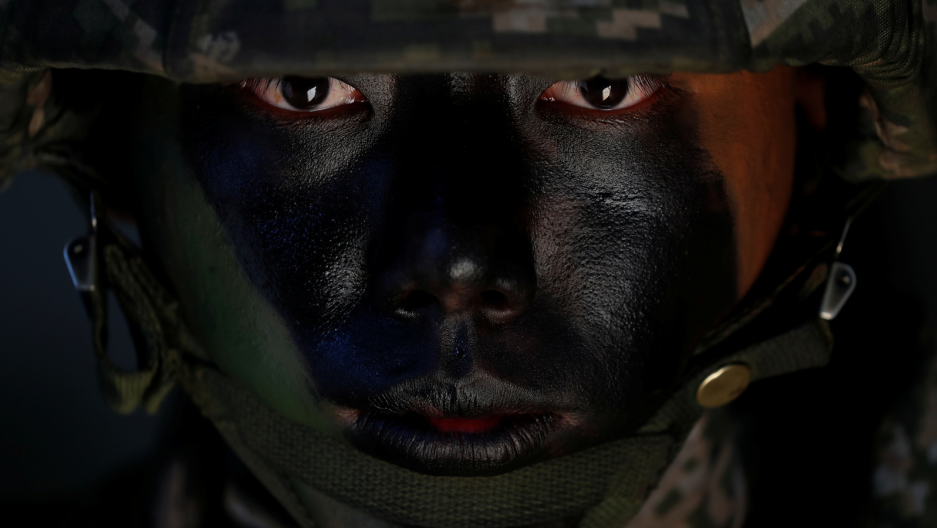 a korean soldier's face