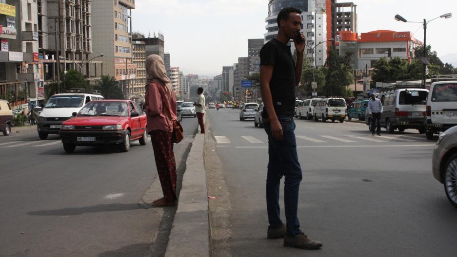 a street scene in addis ababa, ethiopia