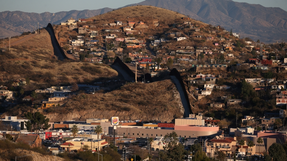The US border with Mexico in Nogales, Arizona