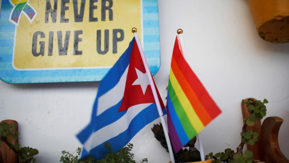 "A Cuba flag and a Pride rainbow flag in a cup with nearby sign ""Never Give Up."""
