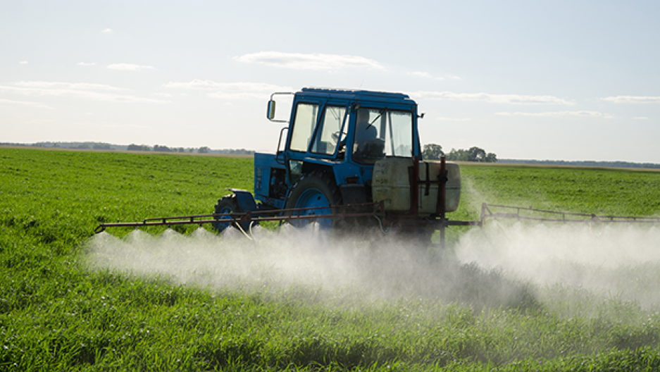 Tractor spraying glyphosate