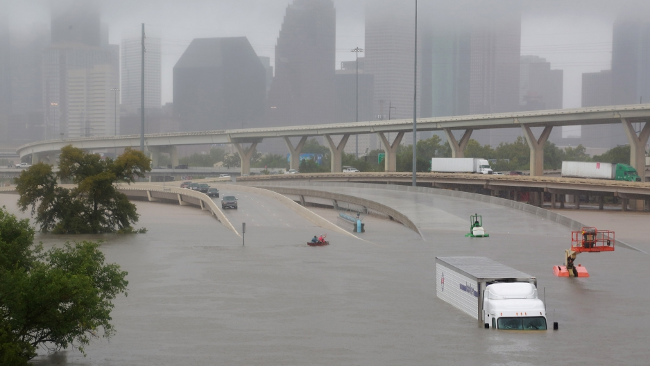 Widespread flooding submerged Interstate Highway 45 in Houston. Hurricane Harvey dropped up to 61 inches of rain on parts of Texas and Louisiana, Aug. 27, 2017.
