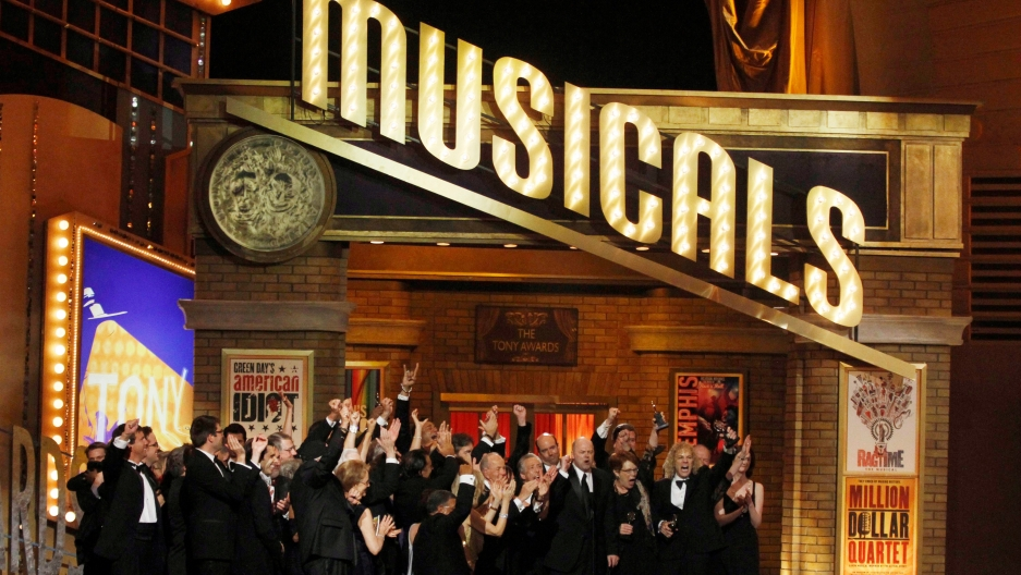 "Cast members of the play ""Memphis"" at the 64th annual Tony Awards."
