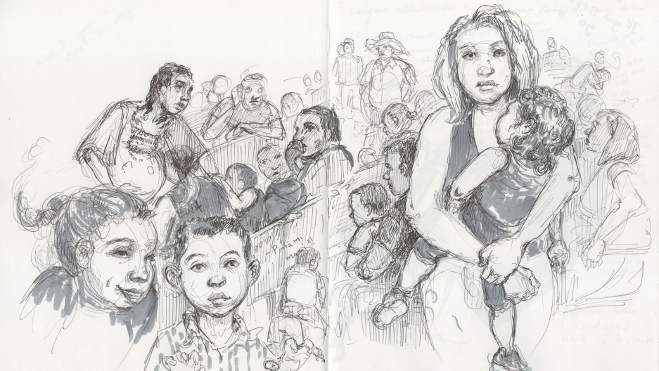 An pen and ink illustration shows a chaotic scene of women holding children in a crowded area