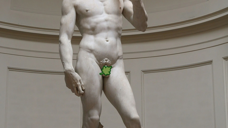 """David"" by Renaissance artist Michelangelo was fashioned after Greek sculpture. The biblical hero has the diminutive goods to prove it."