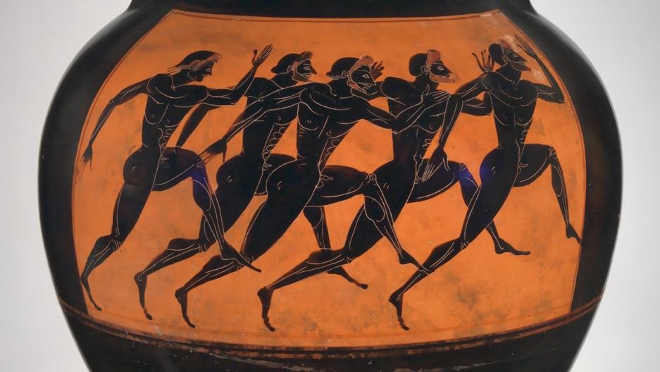 A terracotta Panathenaic prize from 530 B.C.