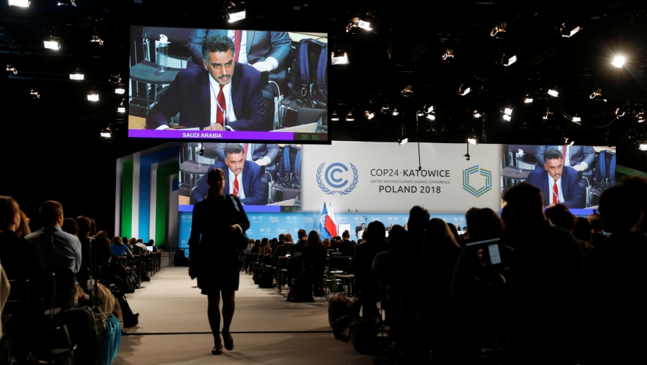 Participants take part in the plenary session during COP24 UN Climate Change Conference 2018 in Poland, Dec. 4, 2018.