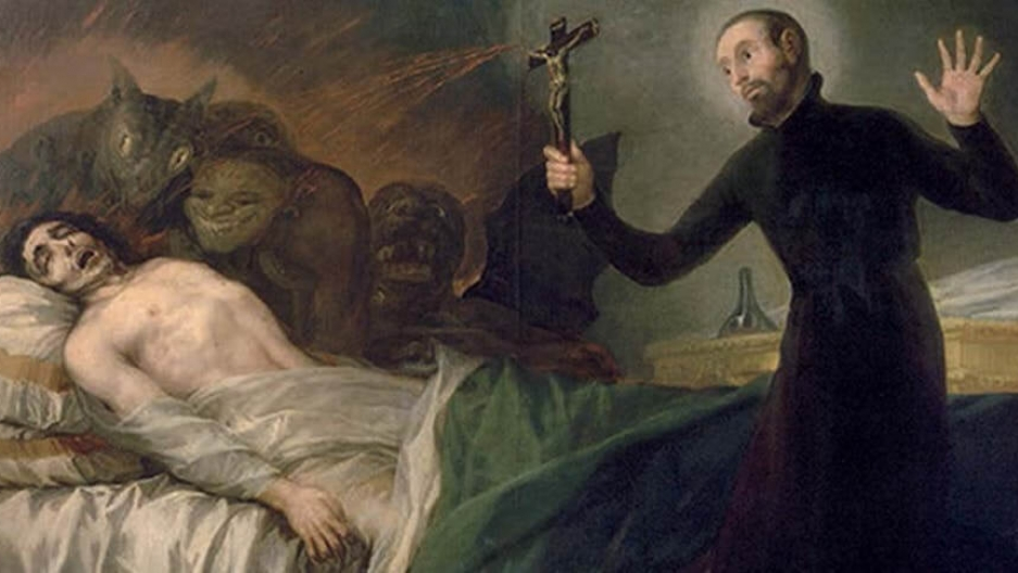 A priest stands over a pale white body on a bed surrounded by demon heads.