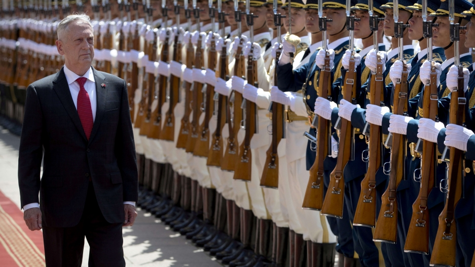 US Defense Secretary Jim Mattis walks past a row of Chinese soldiers