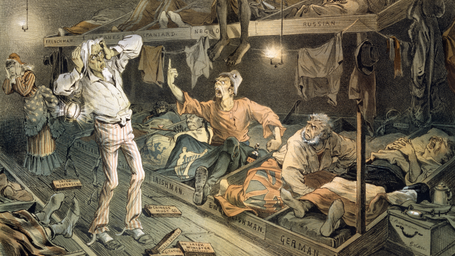 An 1882 cartoon print shows an Irishman confronting Uncle Sam in a boarding house filled with laborers.
