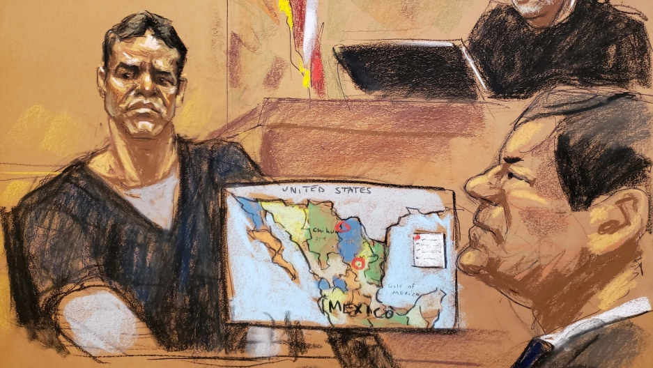 "Vicente Zambada Niebla takes the witness box, at the trial of accused Mexican drug lord Joaquin ""El Chapo"" Guzman, right, in this courtroom sketch"