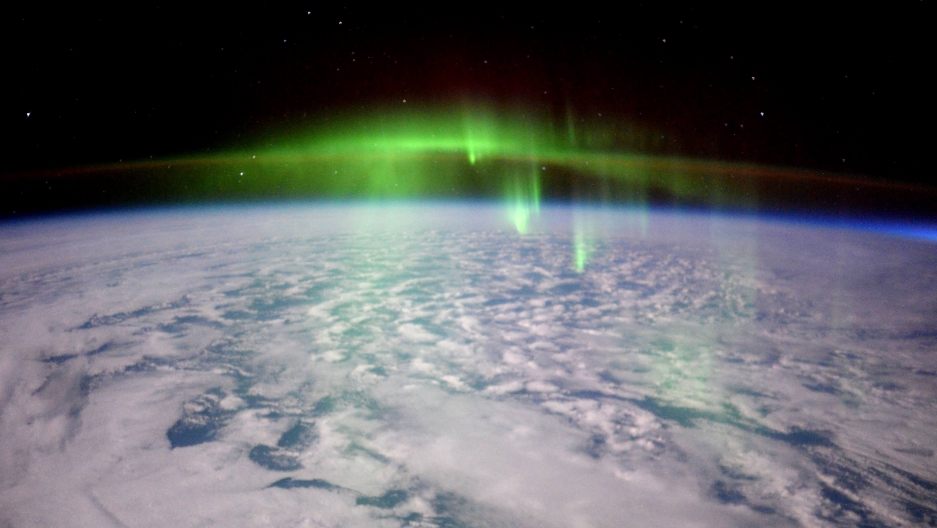 The lights of an Aurora as seen from the International Space Station,