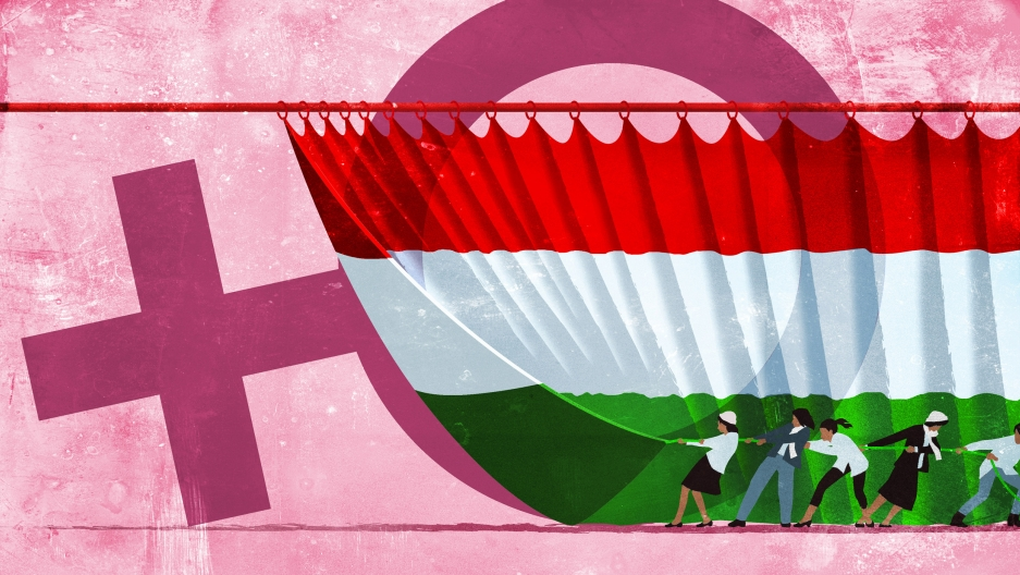 An illustration depicts Hungarian women pulling a curtain that is also a Hungarian flag revealing the symbol of women behind it.