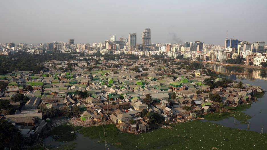 aerial view of slum in Dhaka