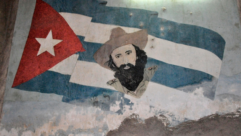 Cuba flag on wall.