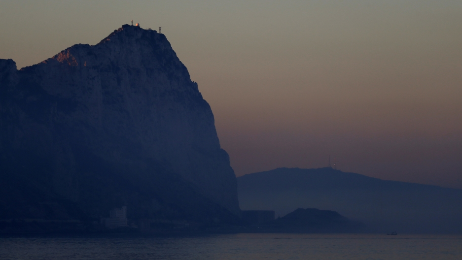 Rock of Gibraltar at dusk