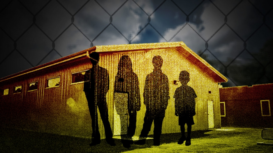 an illustration of the silhouettes of children on a detention center building