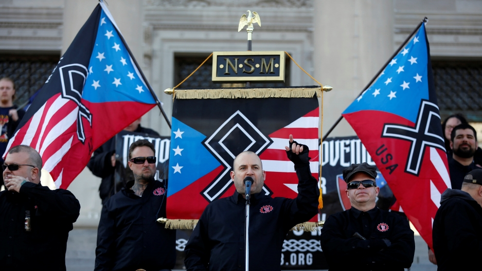 Commander Jeff Schoep of the National Socialist Movement, one of the largest white nationalist type groups in the country, speaks during a rally at the state capital in Little Rock, Arkansas,