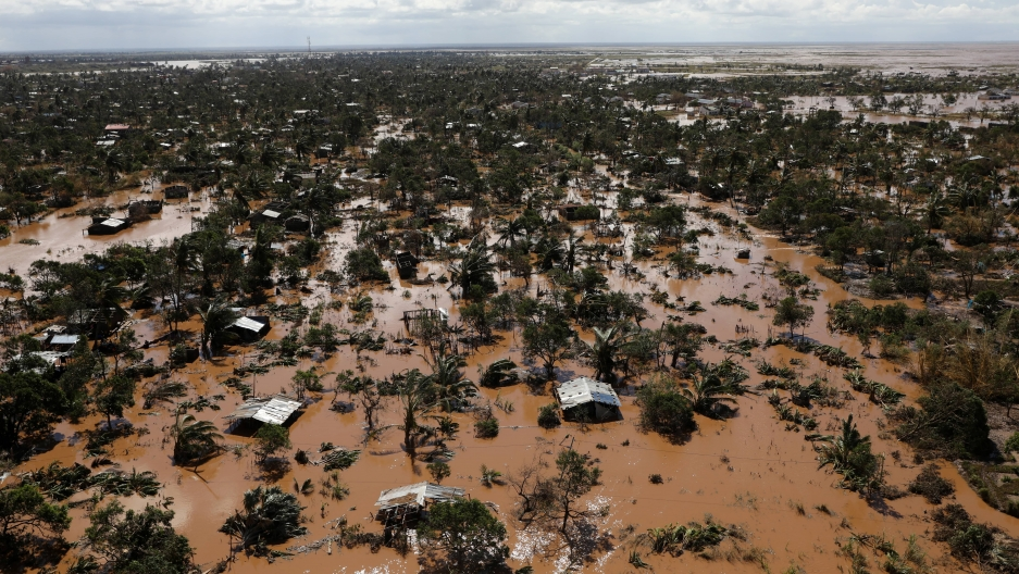 an aerial shot of the destruction of Idai