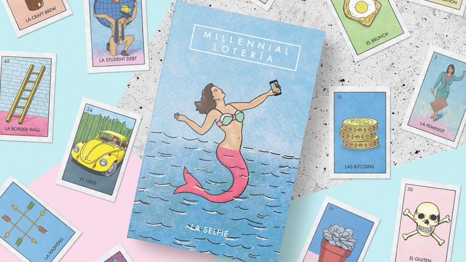 Illustrated cards with text underneath
