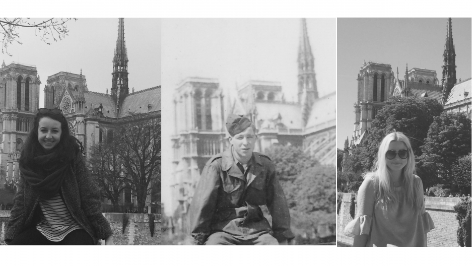 Three people smile in identical photos, part of a family tradition to recreate a WWII-era photo in front of Notre-Dame cathedral