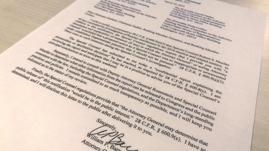 A photo of the document written by Attorney General Barr about the submission of the Special Counsel's report.