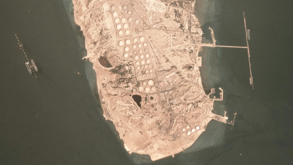 "Satellite view of the Kharg Island oil export terminal in Iran. Very Large Crude Carriers  — ""supertankers"" — can be seen loading on the sides."