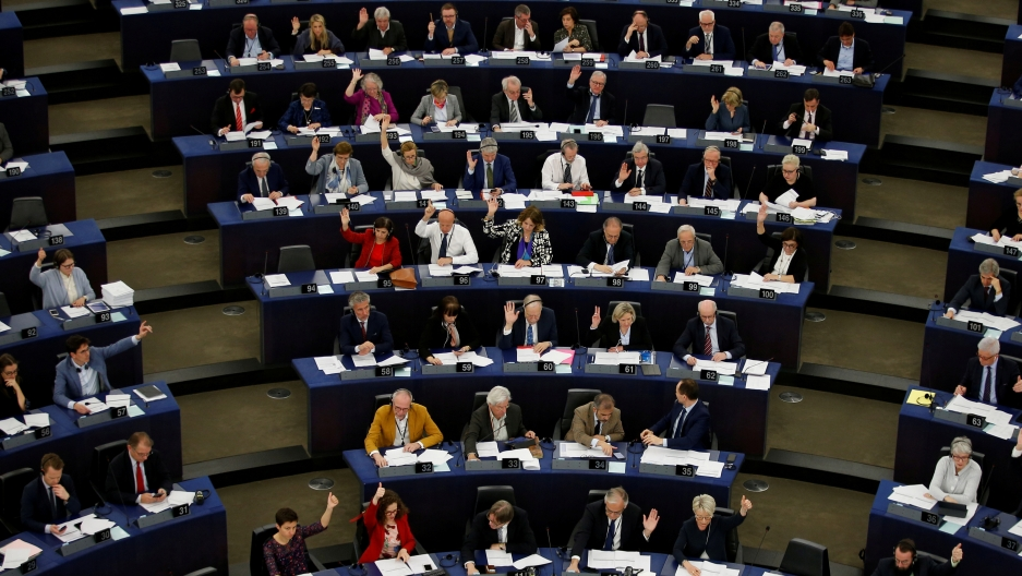 Delegates seated in the European Parliament