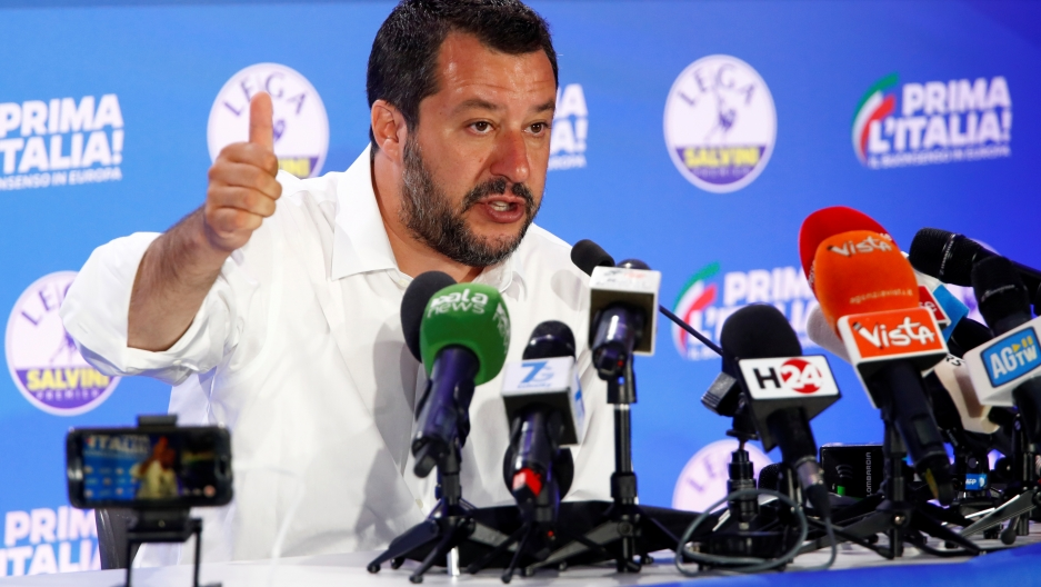 Deputy Prime Minister and League party leader Matteo Salvini speaks to the media at the League party headquarters, following the results of the European Parliament elections, in Milan, Italy, May 27, 2019.