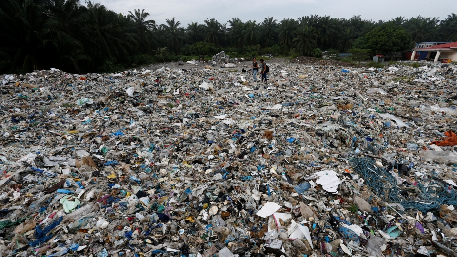 Plastic waste is shown covering almost the entire ground area of the photo with a slim green tree line along the top of the frame.