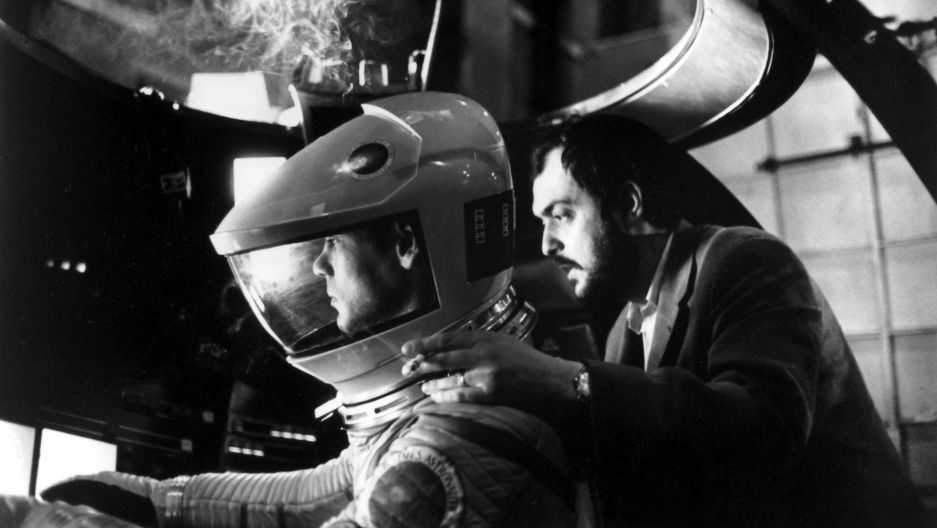 "Actor Gary Lockwood on set with director Stanley Kubrick during the filming of ""2001: A Space Odyssey."""