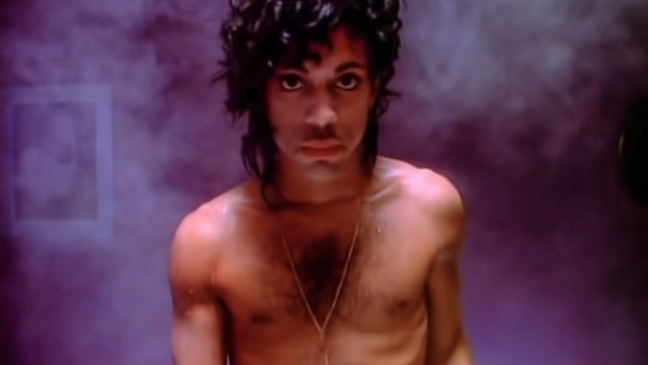 "A screenshot from Prince's music video ""When Doves Cry."""
