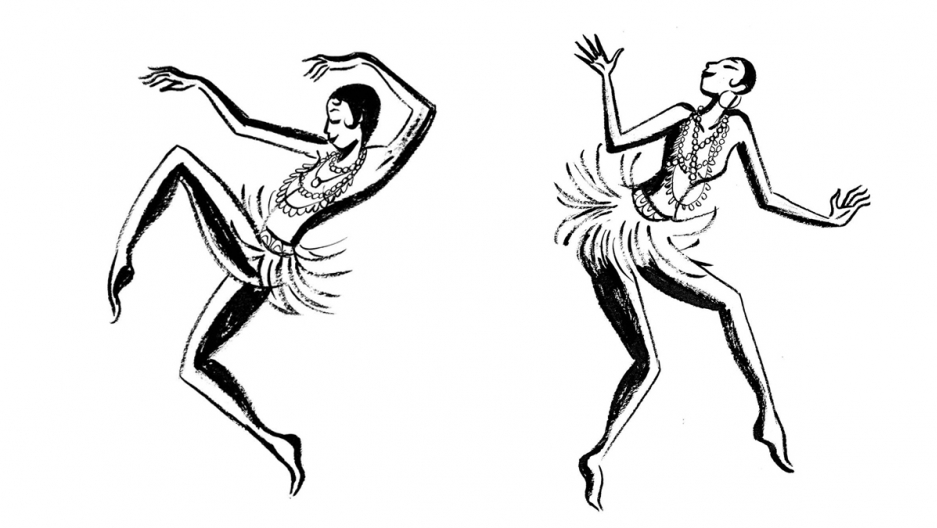 Two black and white illustrations featuring a dancing Josephine Baker, arms raised.